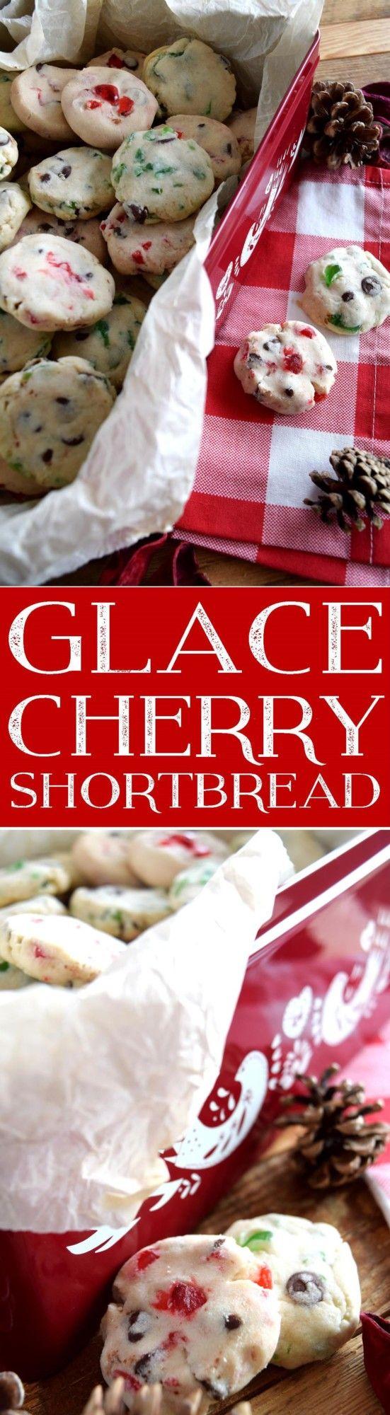Glace Cherry Shortbread Cookies take regular shortbread cookies and make them into a festive Christmas treat!