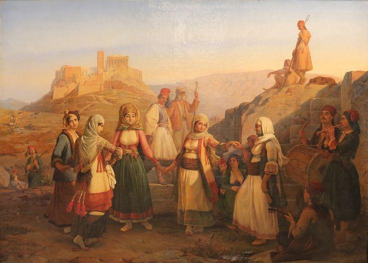 Pierre Bonirote, Danse Greque' acquis par la ville 1843, ελαιογραφία, 159,5 x 209 εκ. Το έργο έχει δημοσιευθεί ως Χορός στην Πνύκα. Ίδρυμα Αρχιεπισκόπου Μακαρίου Γ΄, Πολιτιστικό Κέντρο, Λευκωσία. Pierre Bonirote, Danse Greque' acquis par la ville 1843, oil painting, 159,5 x 209 cm. Archbishop Makarios III Foundation, Cultural Centre, Nicosia