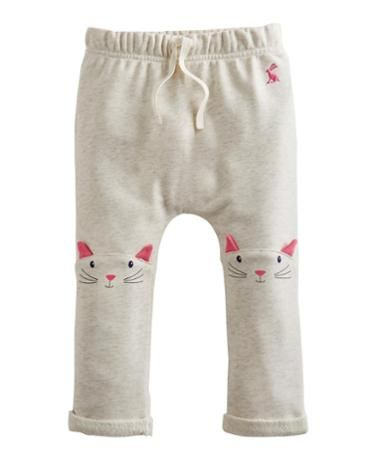 Joules Baby Girls Character Trousers, Cream Marl.                     With tactile 3D ears on the knees these lounge style trousers are not only eye-catching but perfect for curious little ones.