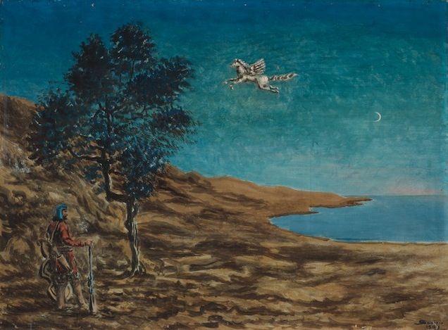 Alberto Savinio, Sera, tempera su compensato, cm 58x78, 1949