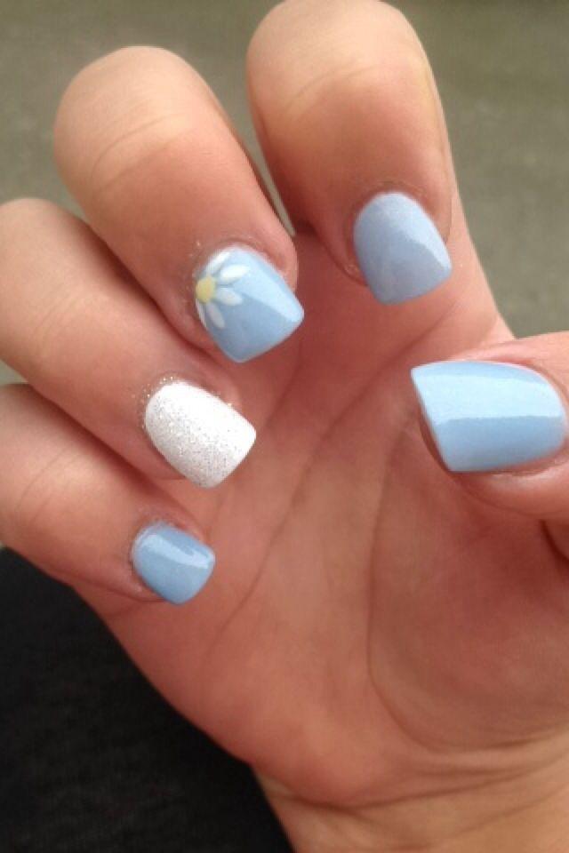 light blue nail design