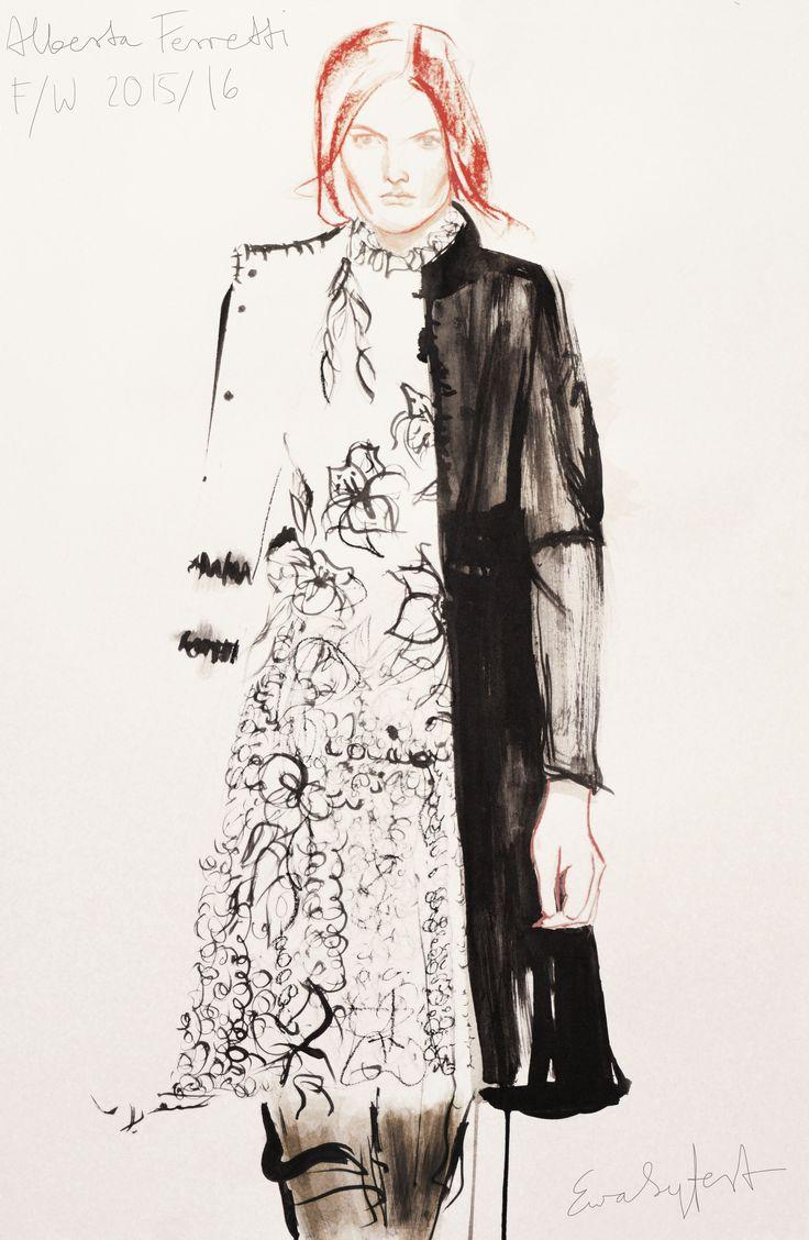 by Eva Syfert #albertaferretti #fallwinter20152016 #fallwinter2015 #rtw2015 #fashion #fashionillustration #evasyfert #illustration