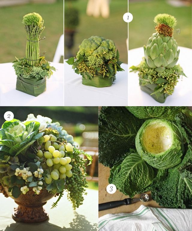 polka dotting my i's: Floral arrangements with fruits and vegetables