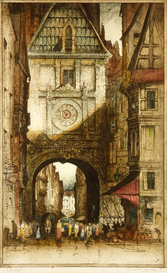 Edward Sharland (1884-1967) - Early 20th Century Etching, Clock Tower Rouen