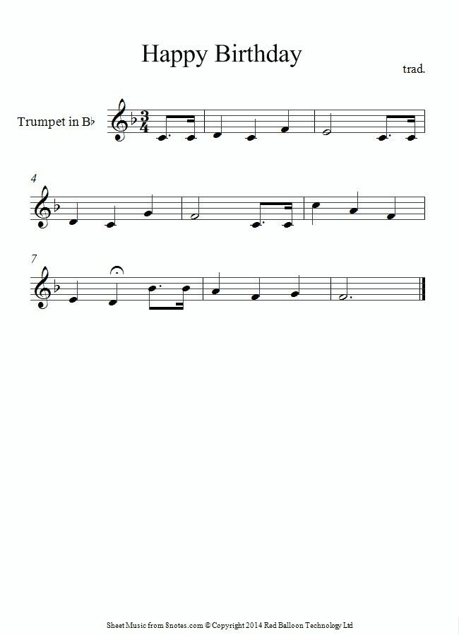 Trumpet Sheet Music-happy Birthday (With Images