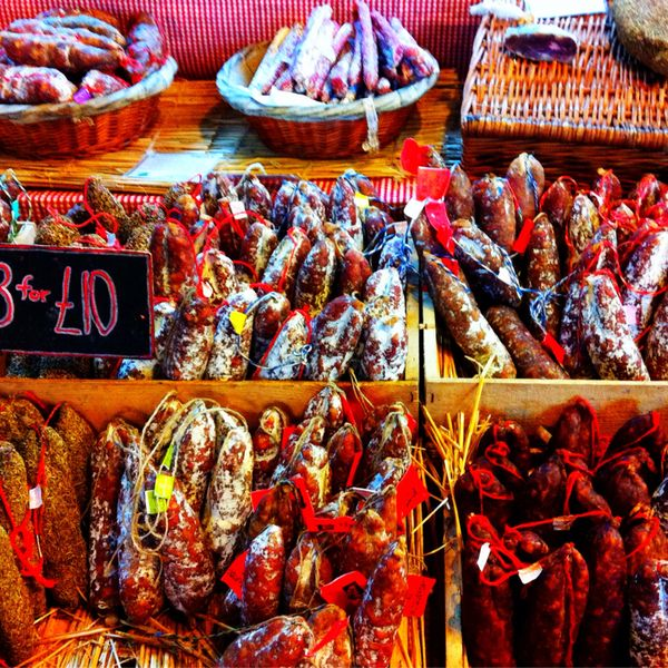 Borough Market off of London Bridge is not so much a secret for the locals. I stumbled upon it on my way to the Tate Modern museum. If you're on a similar route, I would highly recommend this area. Higher-end restaurants such as Roast and fish! are among those in the fresh open-air stands of brea...