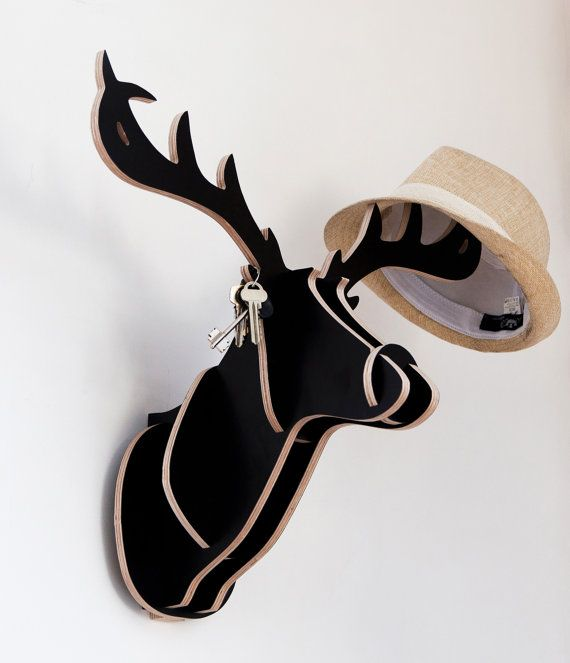 Wooden Deer hanger for coat, hat, scarf, tie, bag, rucksack, handbag or keys. Wall mounted coatrack.