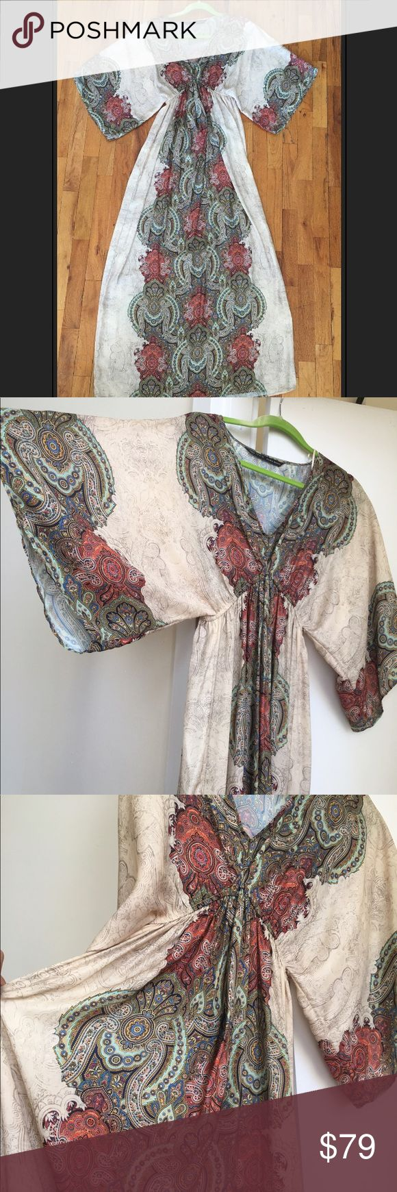 Zara silky caftan *SUMMER SALE* V neck caftan with paisley border - sz S Zara Dresses Maxi
