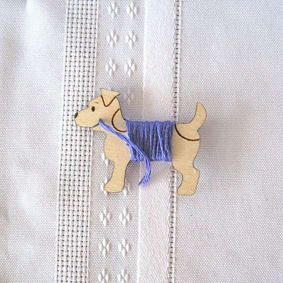 Jack the Terrier Dog Embroidery Floss Holder