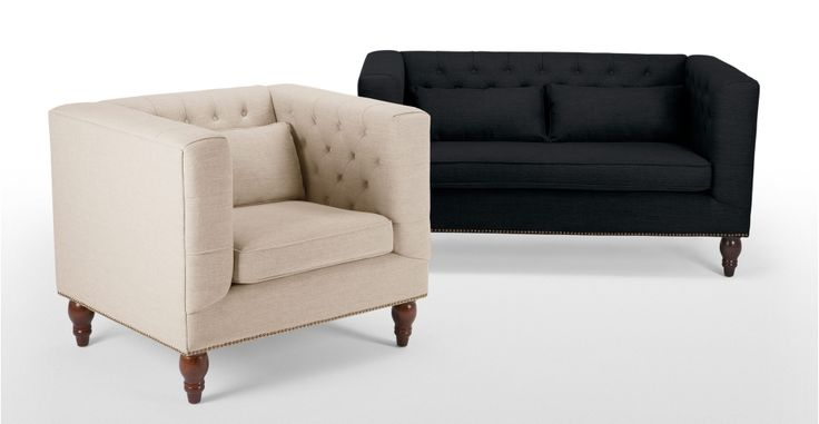 Flynn 2 Seater Sofa in Persian grey | made.com I like the boxy shape - a modern chesterfield. Would be very easy to make loose covers. But would it be comfy? Foam not feather filled -- so no plumping. Could add a throw and cushions to cosy up. Like the grey (if not too blue) and the biscuit (if not too pale).