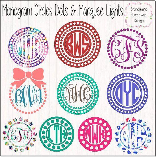 Circle Monogram Frames, Vine Monogram, Fancy Monogram, Circle Monogram, Lily Pulitzer Vinyl, Glitter Vinyl, Marquee, Bows, Dots, Pearls by BrandywineHD on Etsy