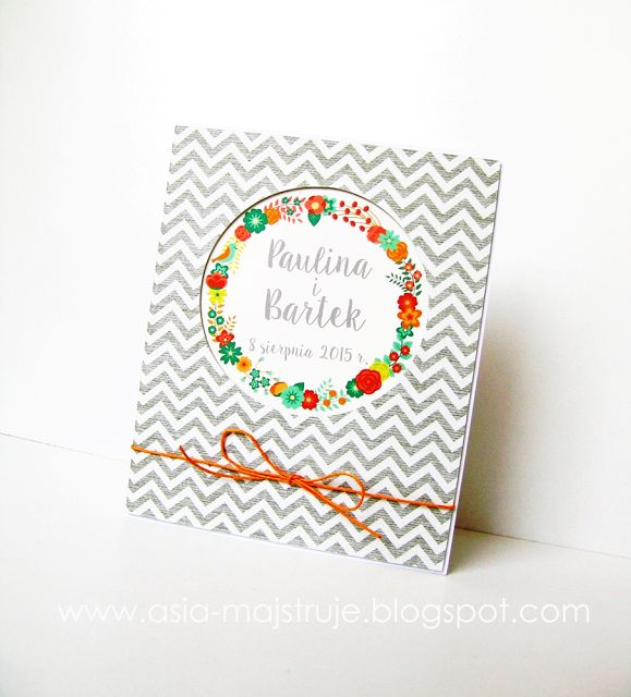 Wedding card | wreath | summer wedding | chevron pattern | newlyweds