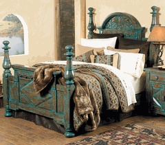 Mountain Mesa Turquoise Bedroom Collection. Hmmm looks a little like our bed now, but with a worn turquoise finish.