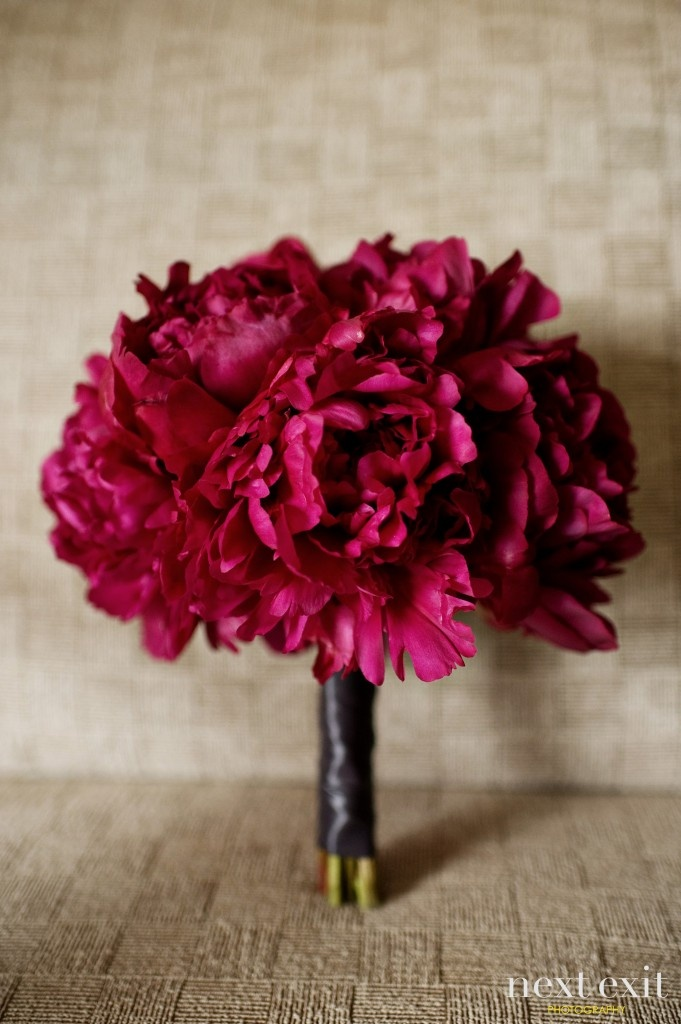 bright pink peonies for a bridesmaids bouquet