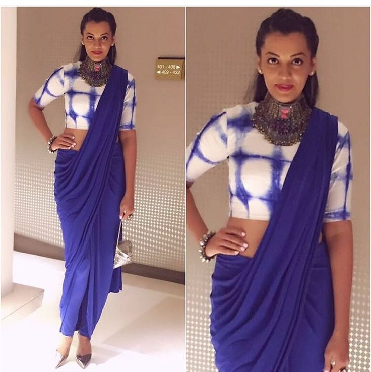 Mugdha # draped saree # fusion look #
