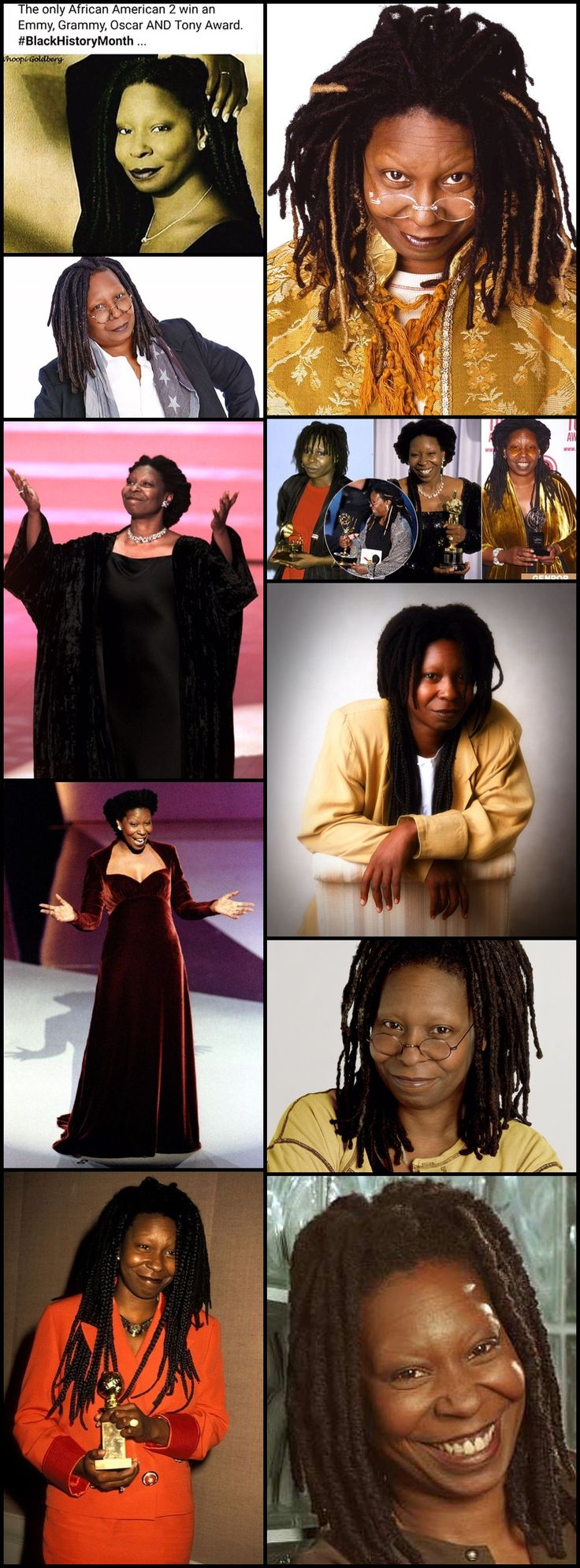 "Whoopi Goldberg (born 1955), is the first and only African American to receive Emmy, Grammy, Oscar, and Tony (EGOT) awards. She received her fourth distinct award in 2002. Between 1985 and 2009, Goldberg received a total of 6 awards. Goldberg is the most recent EGOT ""winner"", the first to win the Oscar as their second award, and the first to win two of their awards in the same year (she won both her first Daytime Emmy and her Tony in 2002)."