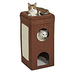 MidWest Curious Cat Cube, Cat House / Cat Condo, Tri-Level Design in Brown Faux Suede & Synthetic Sheepskin