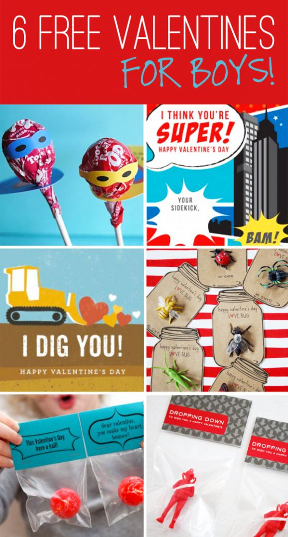 Free BOY Valentines... Superhero Lollipops... You're Super... I Dig You ... Love Bugs... Have a Ball... Dropping Down