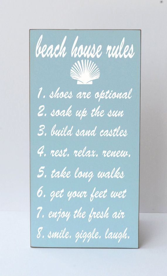 Beach House Rules Wooden Sign Beach Decor Lake by vinylcrafts