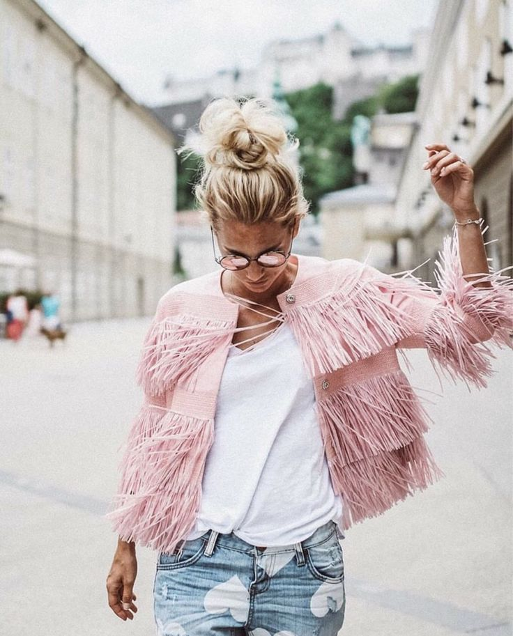 Little white tee + pink fringe jacket