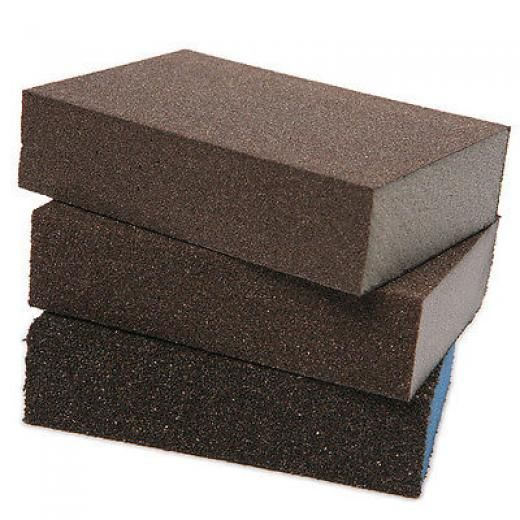 3pcs Polishing Sanding Sponge Block Pad Set Sandpaper Assorted Grit 100 180 320