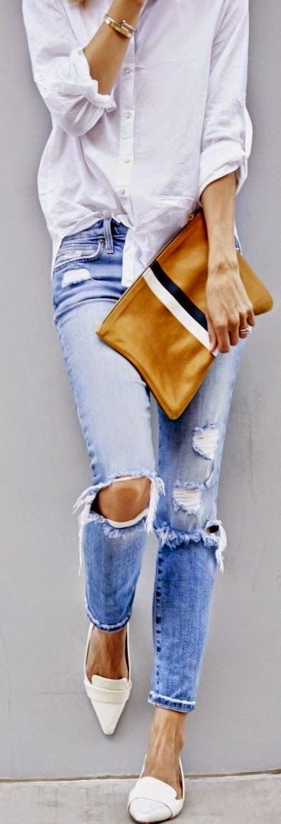 Spring Style 2015 | Casual white shirt, denim and a lovely Clare Vivier clutch. ::M::