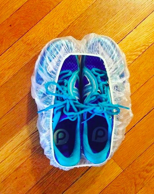 Pack shoes in a shower cap so they don't get your clothes dirty.