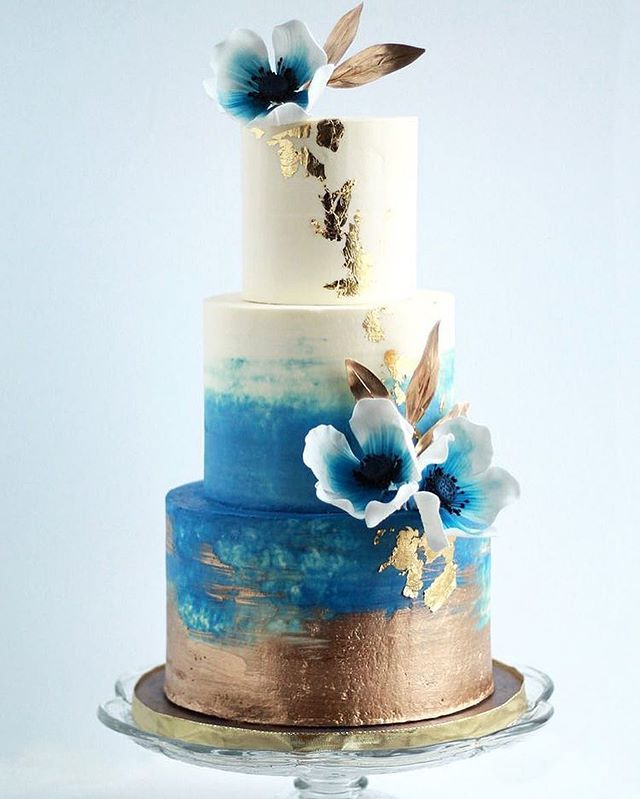 Navy Blue And Gold Watercolor Buttercream Wedding Cake With