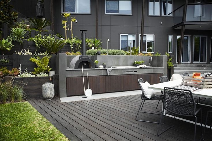 modern bbq pizza oven area into the pool design and fence - Google Search