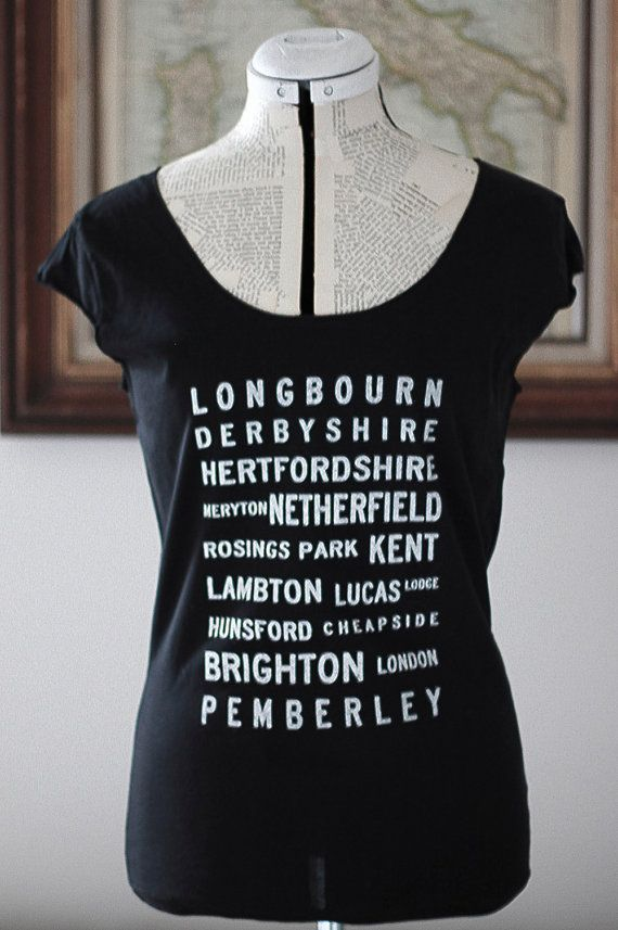 Pride and Prejudice Locations Typography t shirt by Brookish, $25.00