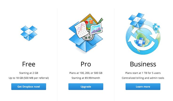 Pricing from Dropbox | PatternTap | ZURB Library