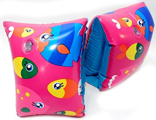 Play Day Ages 3-6 Pink School of Fish Multi Color Armband Water Wings