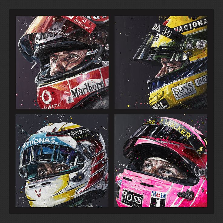 Paul Oz is the buzz word in Formula One art; widely acclaimed for his explosive and energetic artworks and well-respected for his genuine passion for the sport.  We are proud to present to you this very limited edition, giant hand embellished Paul Oz print, which portrays four World Champions; Michael Schumacher, Lewis Hamilton, Ayrton Senna and Jenson Button in true explosive Paul Oz style.  Each hand-embellished image measures 120cm x 120cm, is mounted on a solid backboard and presente...