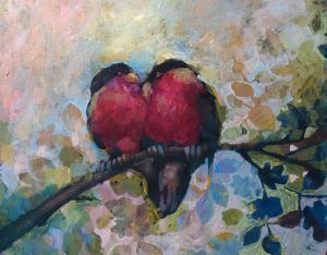 Love birds painting by Alexandra Kruglyak