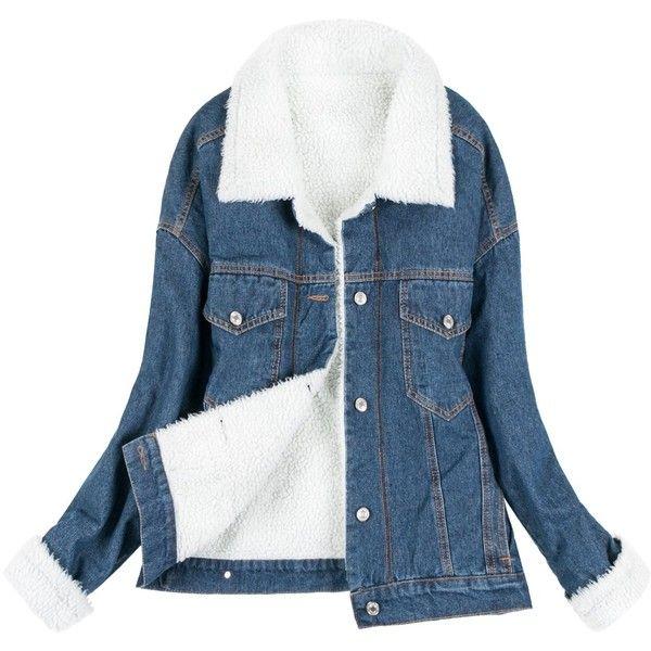 Howels Women Sherpa Lined Overfit Vintage Denim Boyfriend Casual Short... ($52) ❤ liked on Polyvore featuring outerwear, jackets, vintage jean jacket, jean jacket, short jean jacket, blue denim jacket and short jacket