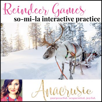 Reindeer Games Interactive Melody Practice is for melodic contour practice. This set gives you everything you need for five lesson segments to work on melodic patterns. This set has many different ways to practice the so-m-la tone set, and is super