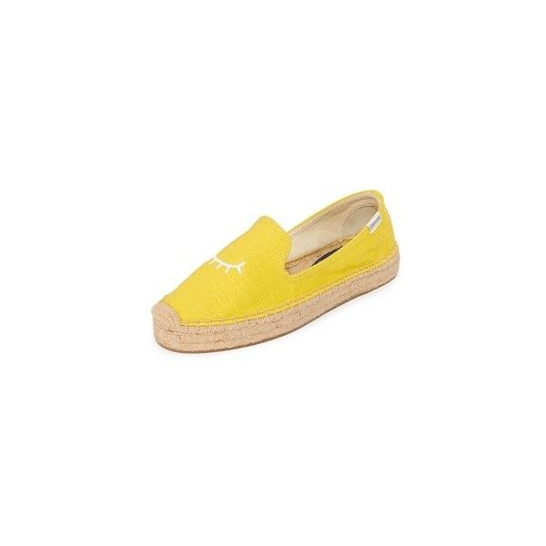 Soludos Jason Polan x Soludos Wink Platform Espadrilles ($85) ❤ liked on Polyvore featuring shoes, sandals, yellow, espadrille sandals, soludos espadrilles, soludos shoes, woven shoes and woven platform sandals