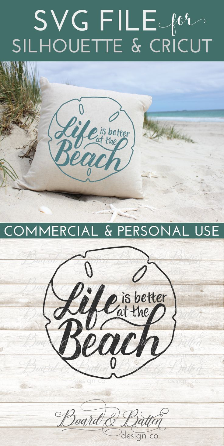 Are you a beach lover. If so, youll adore this cute handlettered Life is better at the Beach SVG File for Silhouette & Cricut vinyl cutters. This design is perfect for t shirts, throw pillows, and I especially love it on wooden signs for that perfect beachy home decor look. Comes in SVG, EPS, DXF and PNG formats - Commercial use included.