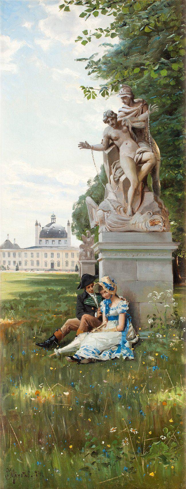 Romantic scene from Fredensborgs park by Peder Mork Monsted (Danish 1859-1941)