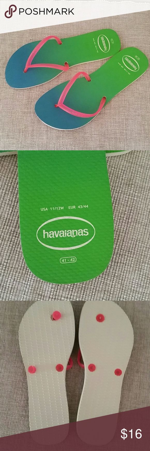 NWOT Havaianas ombre blue green pink flip flops 11 New Havaianas flip flops, size 11/12, pink with blue green ombre Havaianas Shoes Sandals
