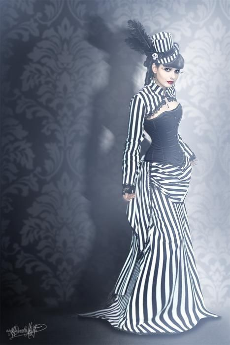 Steampunk bustle ... You can't go wrong with classic black and white.