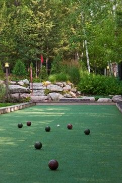 Garden rooms make the perfect place for relaxing and recreation. This bocce ball court can also be a putting green to practice your golf game