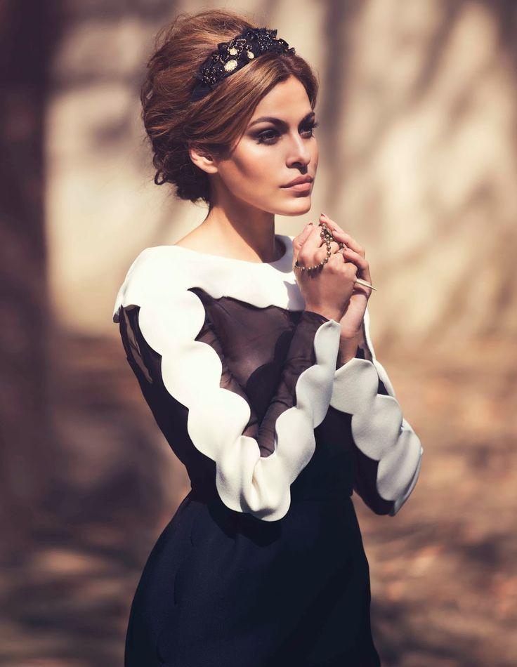 NET-A-PORTER's THE EDIT MAGAZINE  EVA MENDES DRESS: VALENTINO | HEADBAND: DOLCE & GABBANA | NECKLACE: PAMELA LOVE