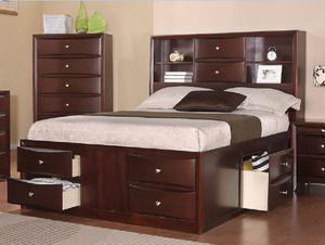 poundex f9234 espresso bookcase headboard queen storage bed