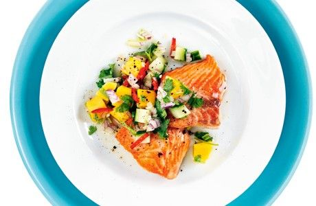Lax med mango och gurksalsa  Receptbild - Allt om Mat