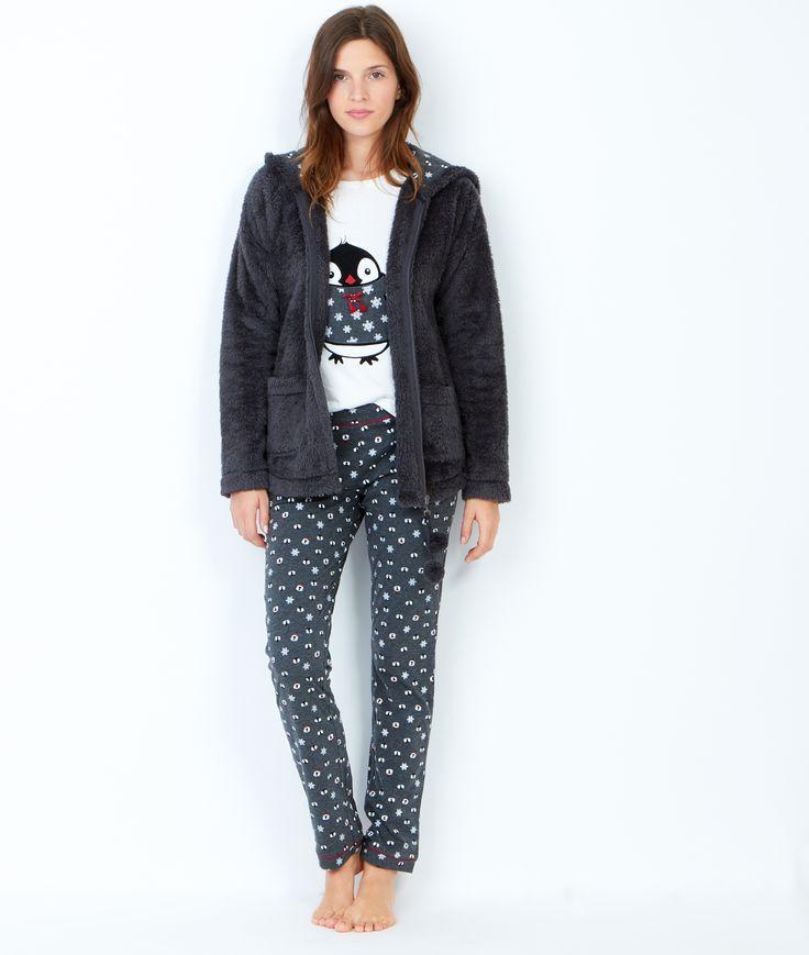 Pyjama 3 pièces, pantalon imprimé et veste toucher polaire;${refinementColor}