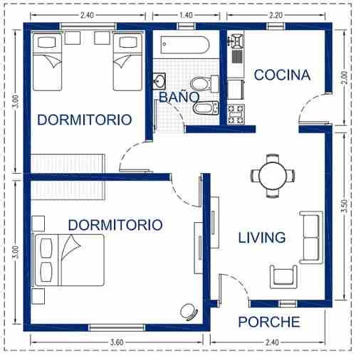 Las 25 mejores ideas sobre planos de casas chicas en for Planos de interiores de casas