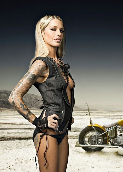 Hot yes there is a motorcycle in the picture for Biker chick tattoos