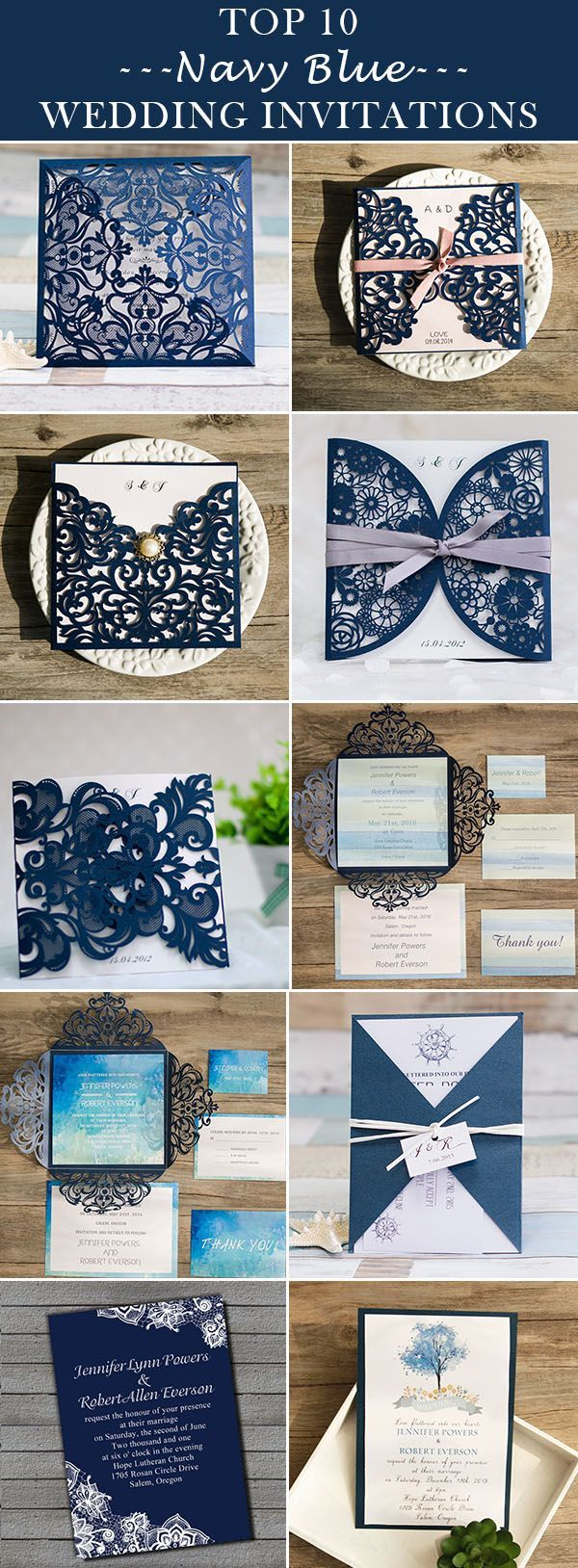 classic navy blue wedding invitations 2016 trends @ElegantWeddingInvites - FREE RSVP CARDS, FREE SHIPPING