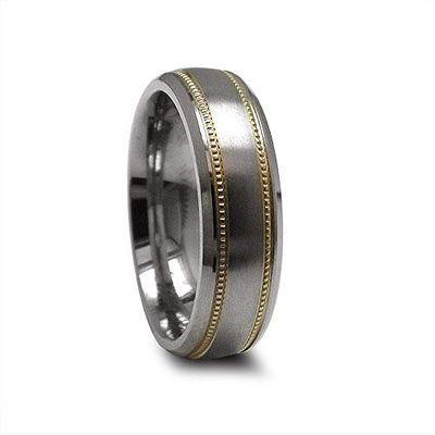 Edward Mirell Men's 6.0mm Titanium Wedding Band with 14K Gold Milgrain
